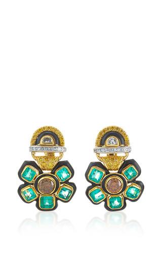 Medium david webb green couture vine earrings
