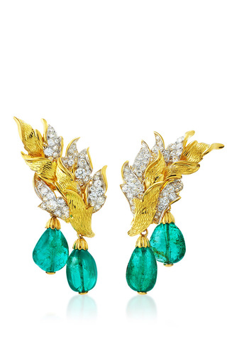 Medium david webb green couture flame earrings