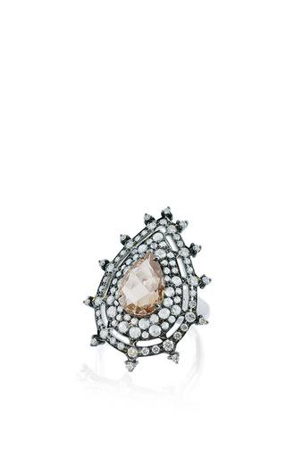 Medium nam cho pink champagne diamond pear ring