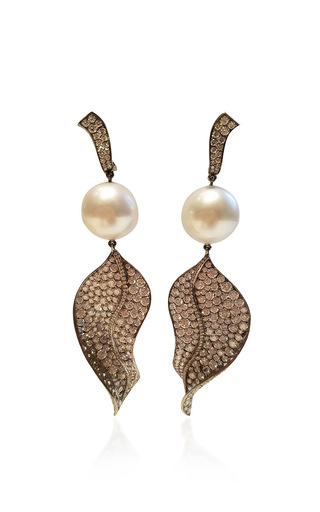 Medium gioia white diamond and pearl earclips