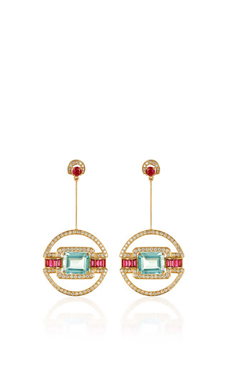 Medium hanut blue aquamarine ruby and diamond classique decoratif earrings