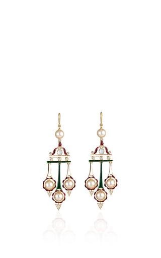 Medium hanut white swing it sister windchymes in enamel pearl and diamonds