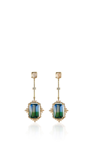 Medium hanut blue de gorgia earrings in banded quartz and diamonds