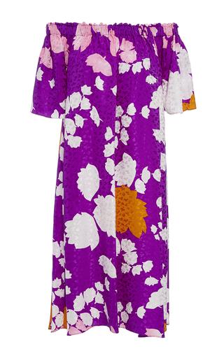 Medium warm purple summer night off the shoulder dress