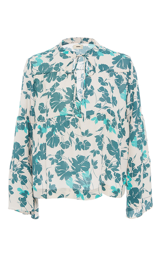 Medium warm floral garden tie blouse