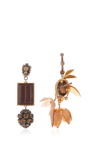 Medium marni gold asymmetrical earrings with strass in brown