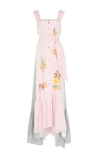 Medium peter pilotto pink linen embroidered long dress