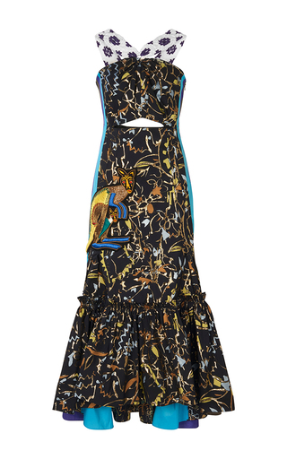 Medium peter pilotto navy taffeta jacquard macrame dress