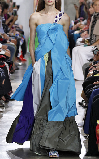 Medium peter pilotto khaki paneled taffeta skirt