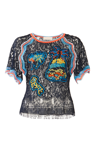 Medium peter pilotto navy embroidered lace top