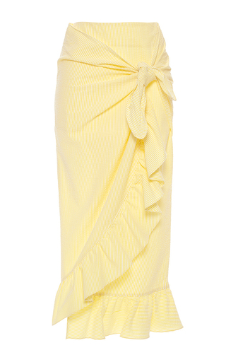 Medium vivetta yellow camoscio ruffled seersucker midi skirt