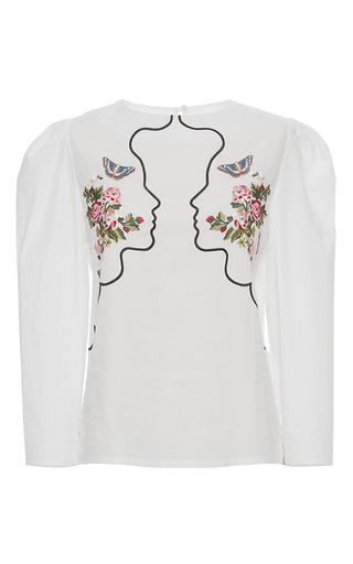 Medium vivetta white embroidered vipera cropped sleeve blouse