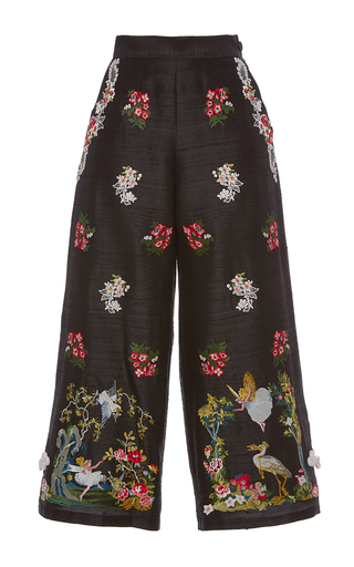 Medium vivetta black embroidered rana pescatrice cropped pants