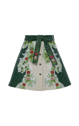 Medium vivetta green bucero floral leather skirt