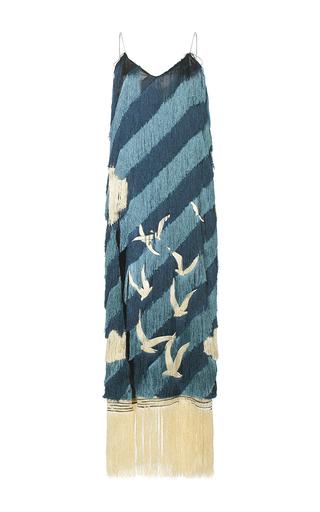 Medium marco de vincenzo blue fringe gulls midi shift dress