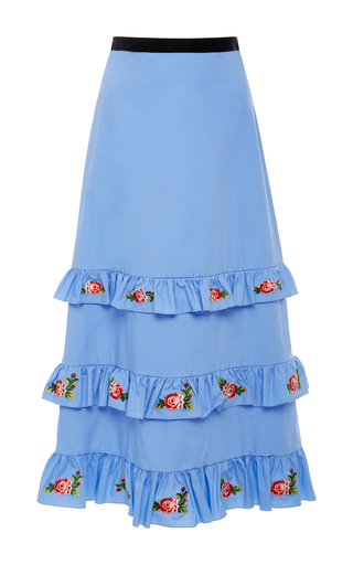 Medium vivetta blue embroidered remora tiered poplin midi skirt