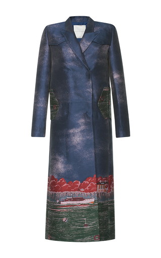 Medium marco de vincenzo blue villa jacquard tailored coat