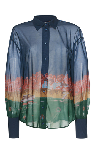 Medium marco de vincenzo blue villa jersey button up shirt