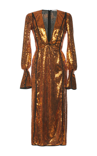 Medium marco de vincenzo orange paillette embellished sheath dress