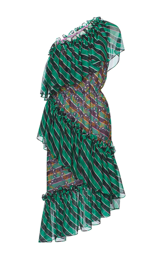 Medium marco de vincenzo print criss cross ruffle one shoulder dress