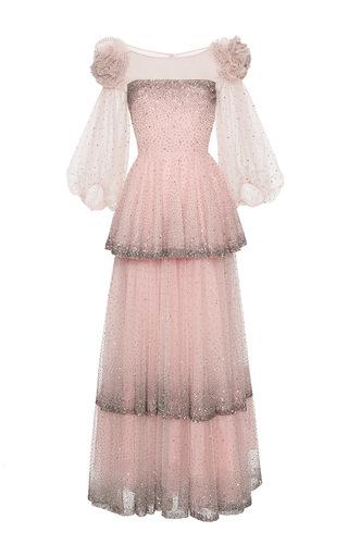 Medium blumarine light pink embroidered ruffle gown