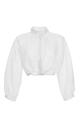 Medium blumarine white three quarter sleeve cropped blouse 4