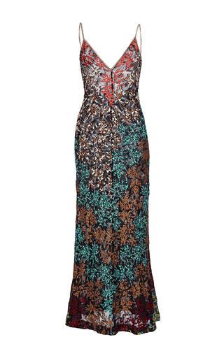 Medium missoni multi embroidered v neck lace maxi dress