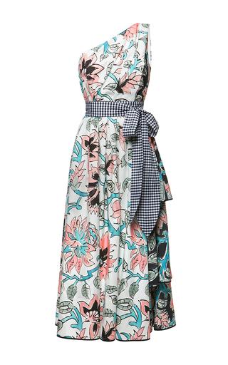Medium antonio marras multi floral print one shoulder midi dress