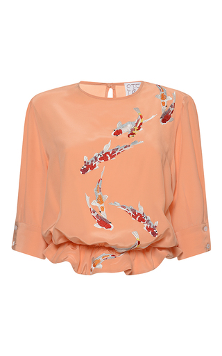 Medium stella jean orange strana embroidered short sleeve blouse