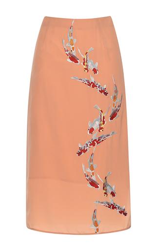 Medium stella jean orange solare embroidered slit detail tube skirt