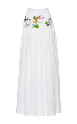Medium stella jean white mattiniera long skirt