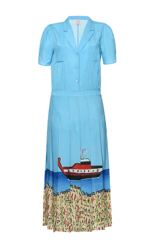 Medium stella jean blue veloce short sleeve button front dress