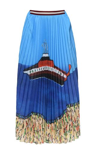 Medium stella jean multi fangosa flared pleated skirt