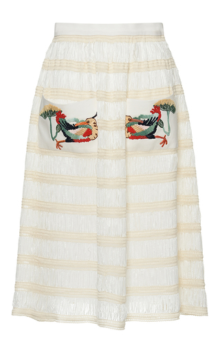 Medium stella jean white pesante flared short skirt