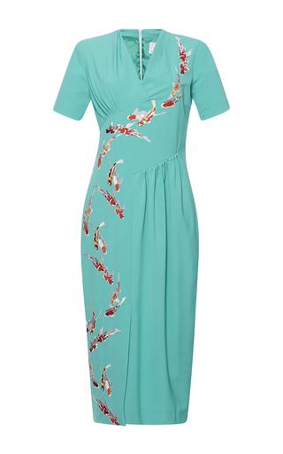 Medium stella jean blue luminosa short sleeve v neck dress
