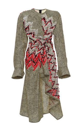 Medium marni multi long sleeve bead embellished dress