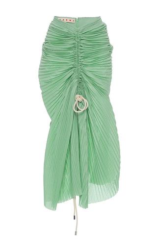 Medium marni green ruched muslin plisse skirt