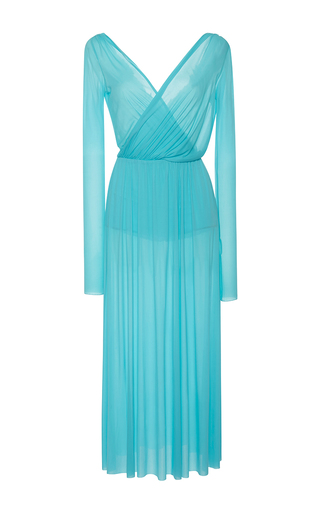 Medium emilio pucci light blue draped long sleeve midi v neck dress