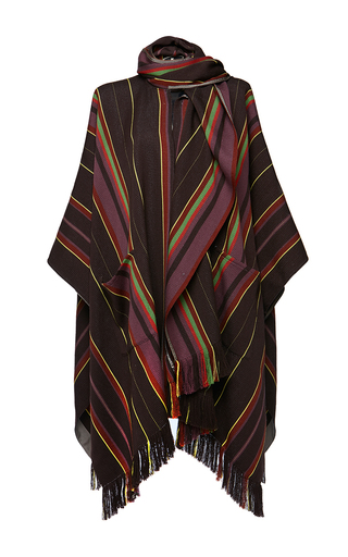 Medium etro stripe mantella amber cape