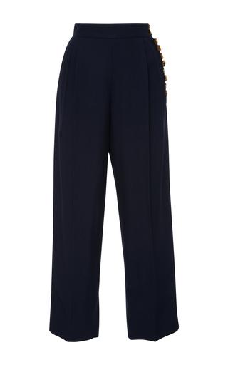 Medium khaite navy navy cora pleated button trouser