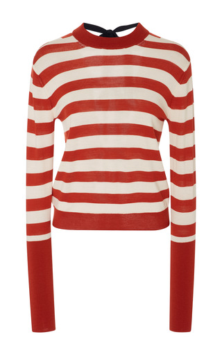 Medium khaite stripe chloe striped tie back merino wool blend sweater