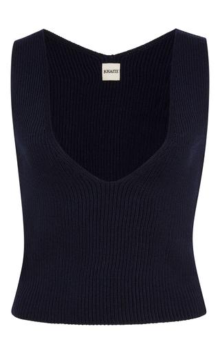 Medium khaite navy ribbed knit merino wool top