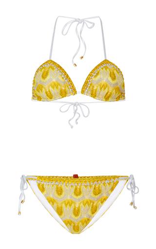 Medium missoni mare yellow crochet knit triangle bikini