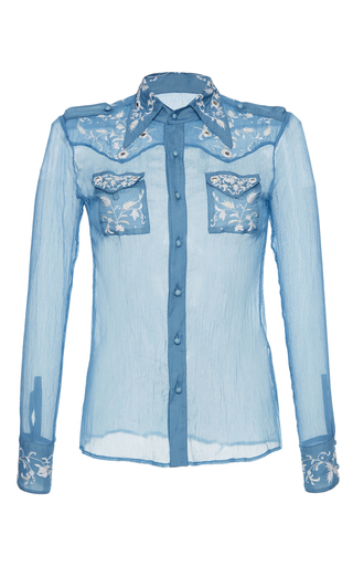 Medium roberto cavalli blue silk western shirt