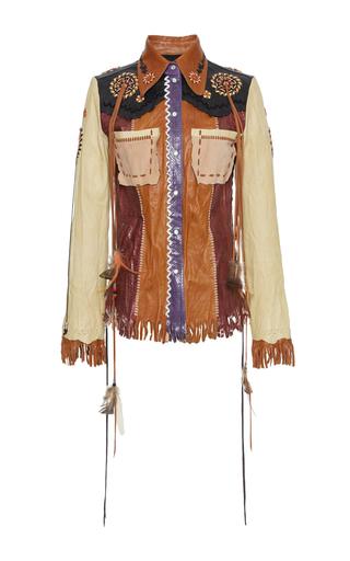 Medium roberto cavalli multi patchwork fringe leather jacket