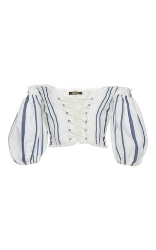 Medium roberto cavalli stripe off the shoulder puff sleeve top