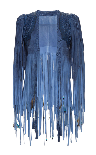 Medium roberto cavalli blue leather fringe cropped jacket
