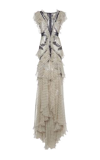 Medium roberto cavalli print lace insert ruffle long dress