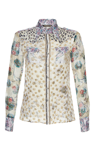 Medium roberto cavalli print silk blend button up shirt