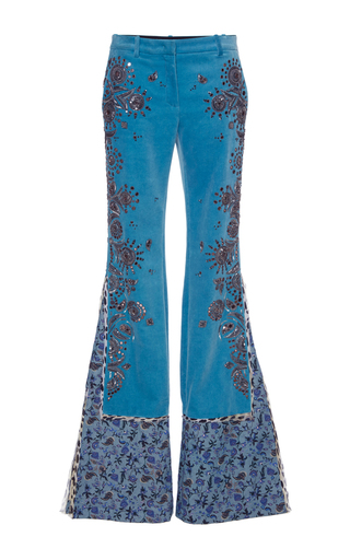 Medium roberto cavalli blue embroidered velvet pants